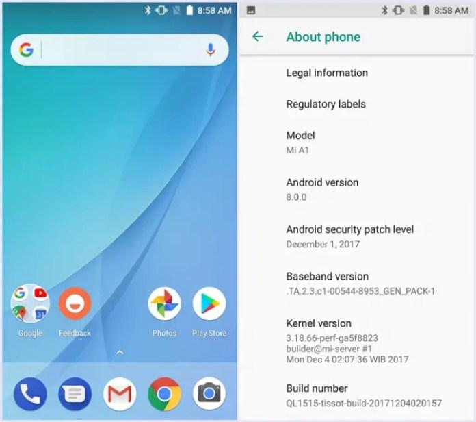 Android Oreo Beta Mi A1