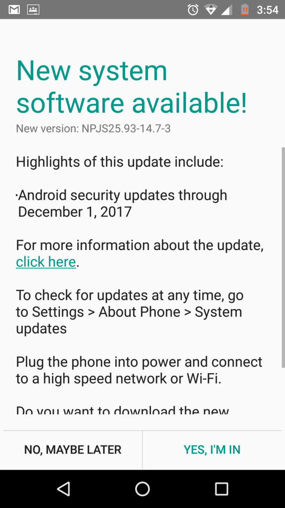 Moto G4 Plus gets December security