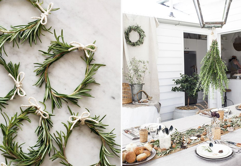 Holiday brunch perfection. Rosemary sprays and wreaths.