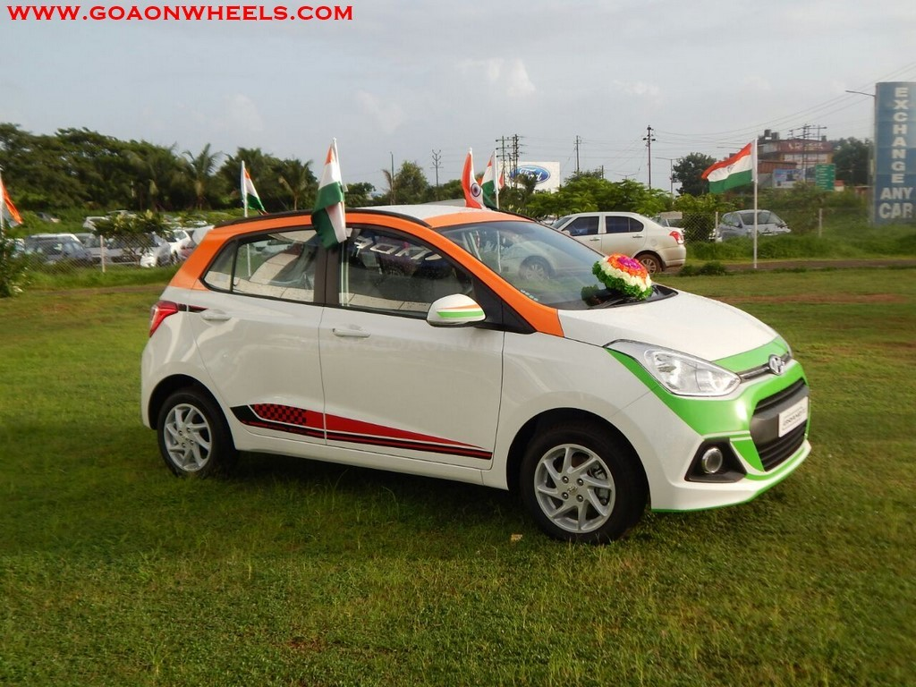 independence day edition grand i10 on display at goa hyundai. Black Bedroom Furniture Sets. Home Design Ideas