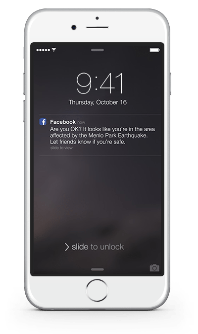 Screenshot of the Facebook APP msg. screen on iphone