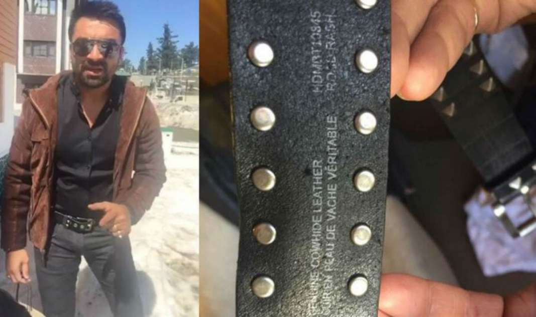 AJAZ KHAN SHOWING THE HARLEY DAVIDSON BELT MADE FROM COW'S LEATHER