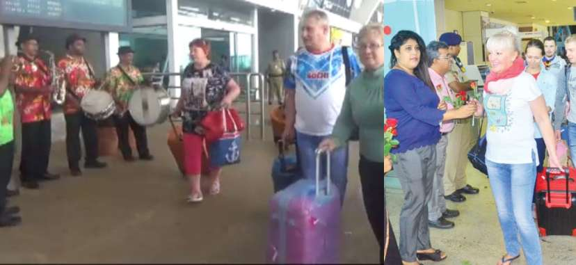 First Charter Flight 519 Russian Tourists Lands Goa Announcing Season