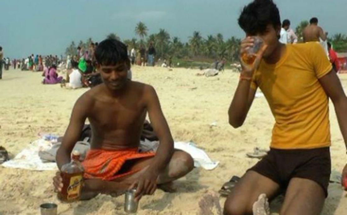 Drinking on Goan Beaches