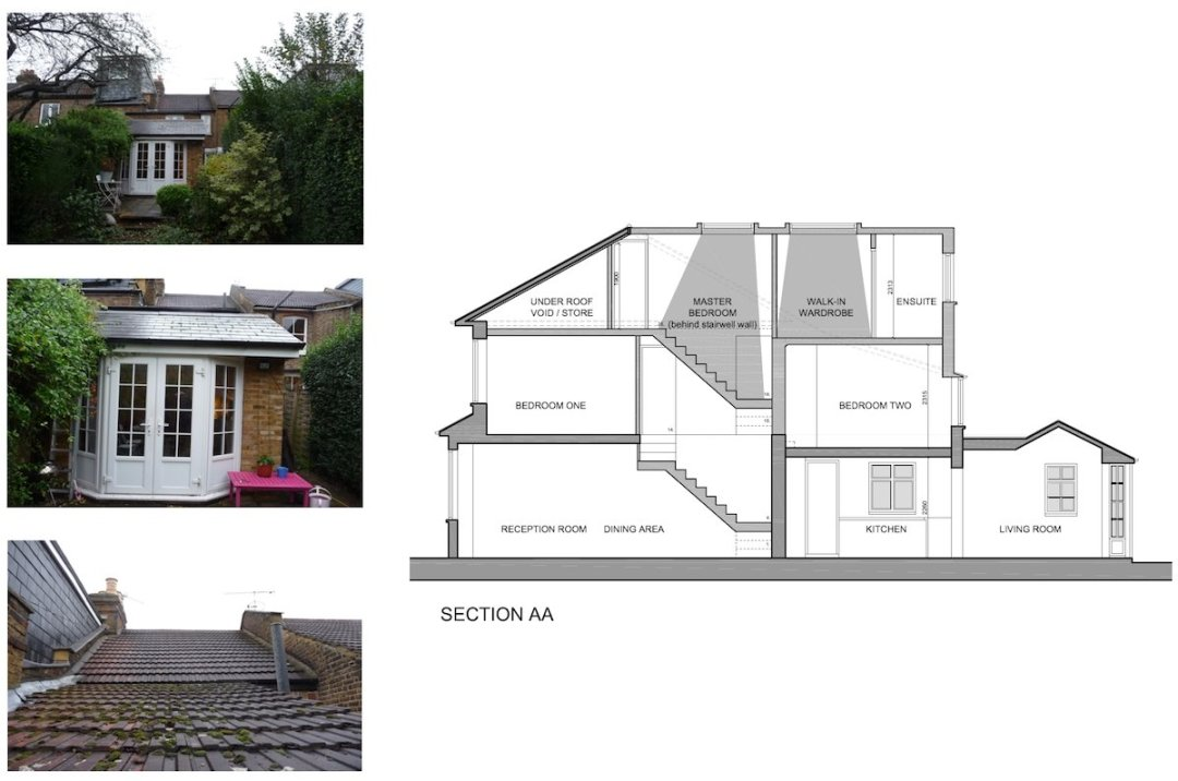 01 St Margarets Richmond TW1 House roof extension Section 1200x795 St Margarets I, Richmond TW1 | House extension