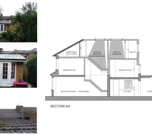 01 St Margarets Richmond TW1 House roof extension Section 300x266 St Margarets I, Richmond TW1 | House extension