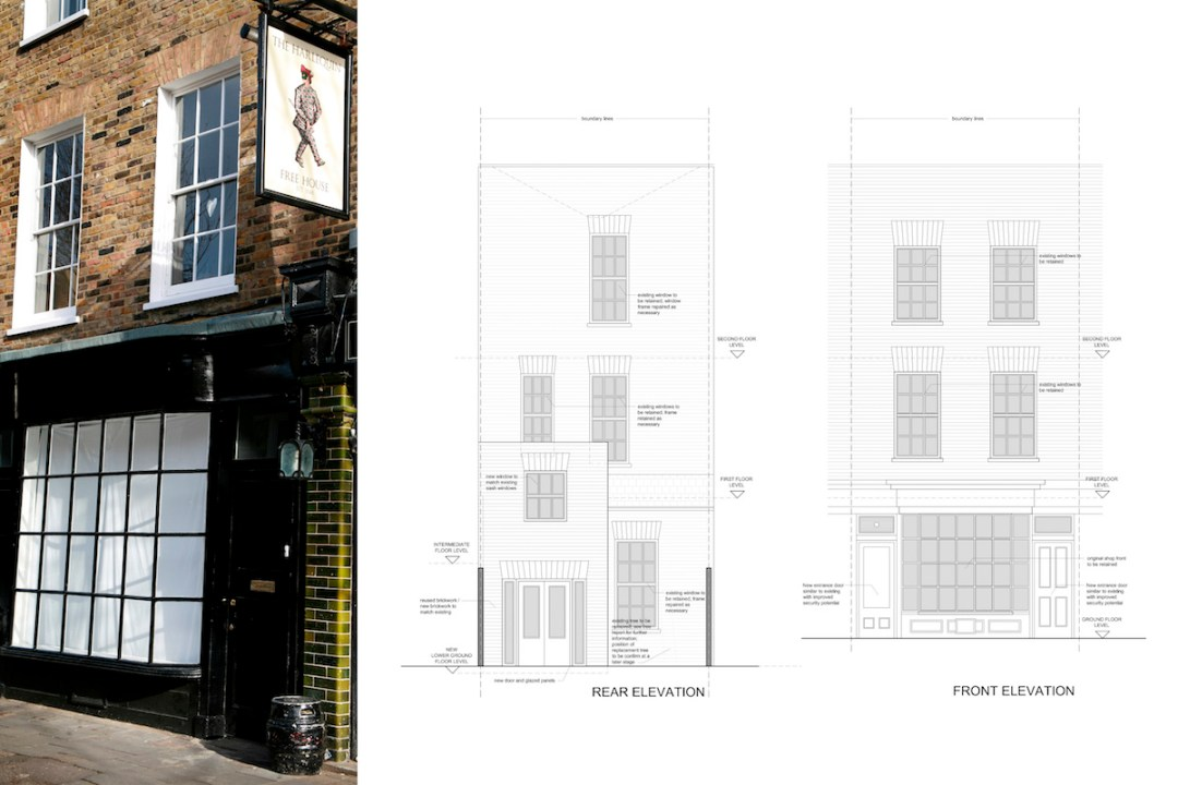 Architect designed Listed House extension Angel Islington EC1 Front and rear design elevations1 1200x800 Angel, Islington EC1 | Listed house extension