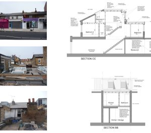 Architect designed flat extension Hammersmith Fulham W12 Design sections 300x266 Stamford Brook, Hammersmith and Fulham W12 | Flat extension