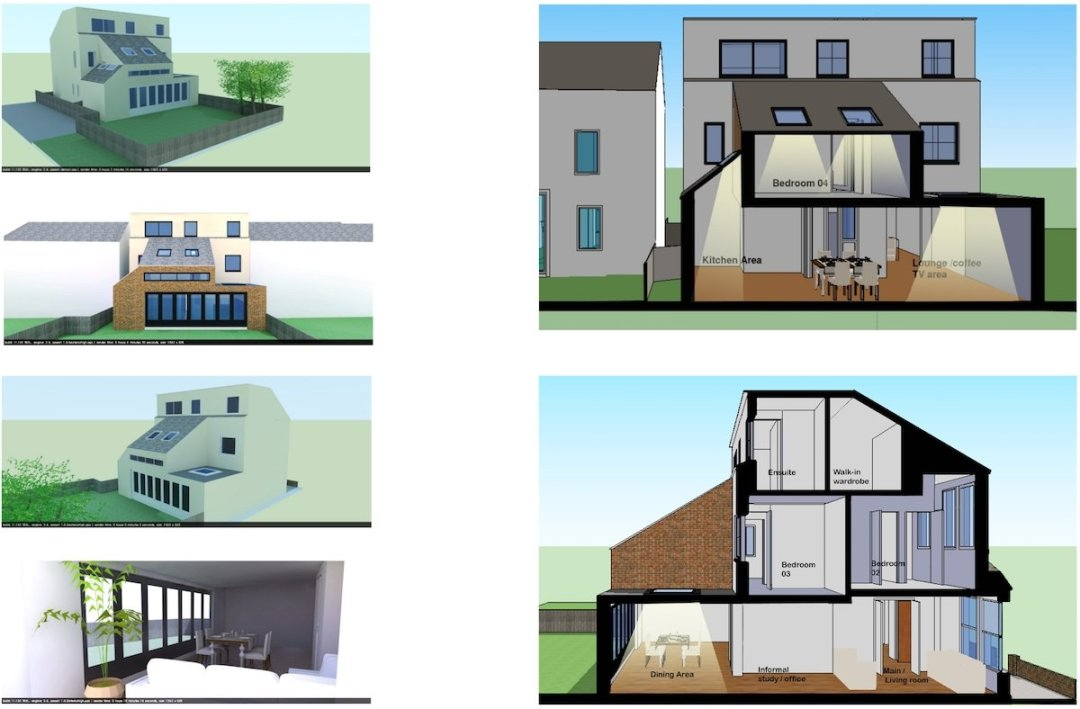 Architect designed house extension Chiswick Hounslow W4 More design 3D images 1200x788 Chiswick, Hounslow W4 | House extension