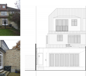 Architect designed house extension Grange Park Enfield N21 Rear elevation 300x266 Grange Park, Enfield N21 – House extension and alterations