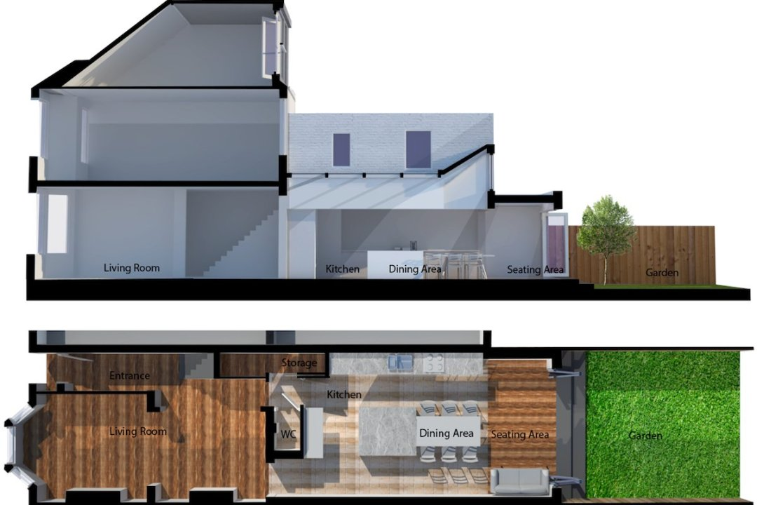 Architect designed house extension West Hampstead Camden NW6 3D section and floor plan2 1200x800 West Hampstead, Camden NW6 | House extension