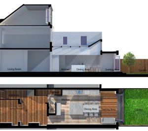 Architect designed house extension West Hampstead Camden NW6 3D section and floor plan2 300x266 West Hampstead, Camden NW6 | House extension