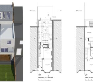 Architect designed house extension West Hampstead Camden NW6 Design floor plans 300x266 West Hampstead, Camden NW6 | House extension