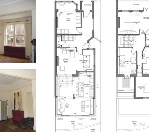 Architect designed house extension Winchmore Hill Enfield N21 Floor plans 300x266 Winchmore Hill, Enfield N21 – House extension and development