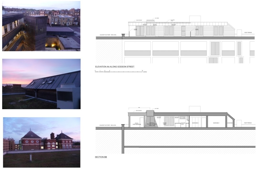 Architect designed penthouse extension Angel Islington N1 Section and elevation 1200x796 Angel, Islington N1 | Penthouse extension
