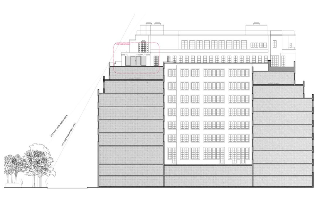 Architect designed penthouse extension Pimlico Westminster SW1P Elevation and section 1200x800 Pimlico, Westminster SW1P   Penthouse extension and alterations