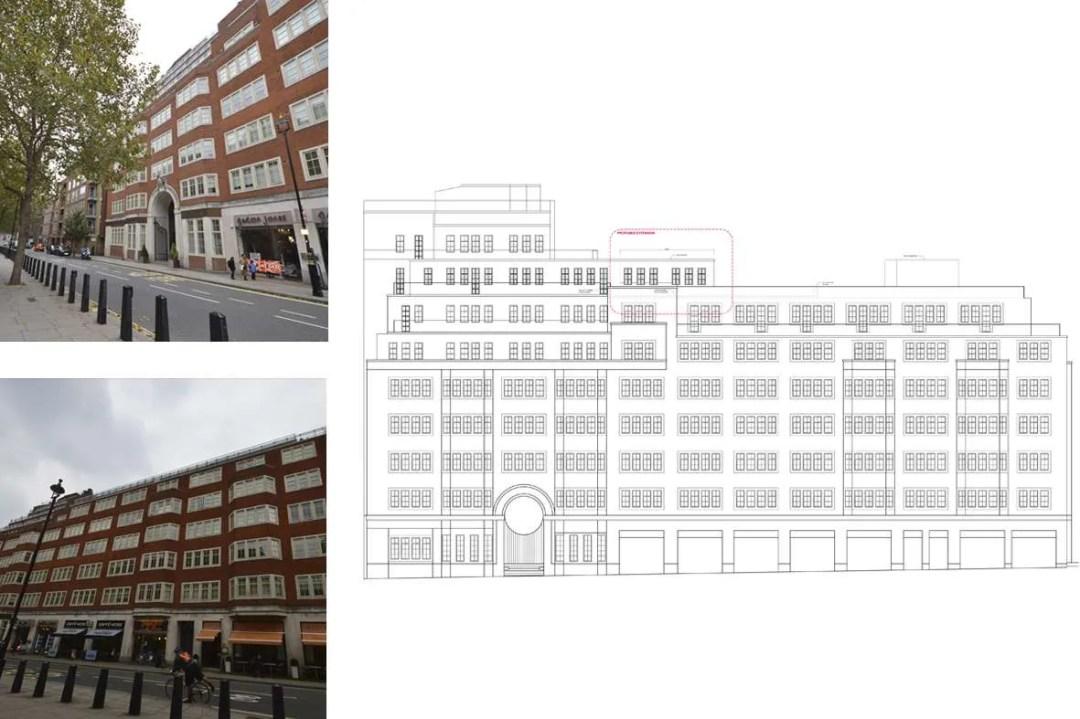 Architect designed penthouse extension Pimlico Westminster SW1P West Elevation Pimlico, Westminster SW1P | Penthouse extension and alterations