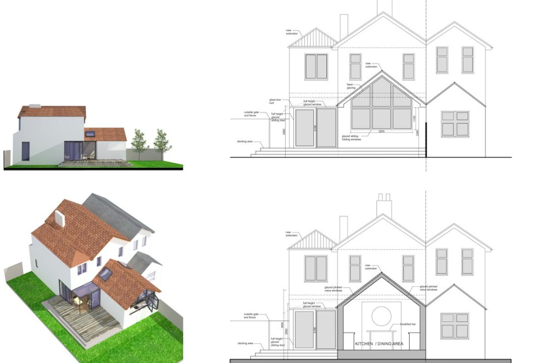 Architect designed residential extension Barnet EN5 Sections and elevations 1 1200x800 High Barnet EN5 | Locally Listed house extension