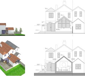 Architect designed residential extension Barnet EN5 Sections and elevations 1 300x266 High Barnet EN5 | Locally Listed house extension