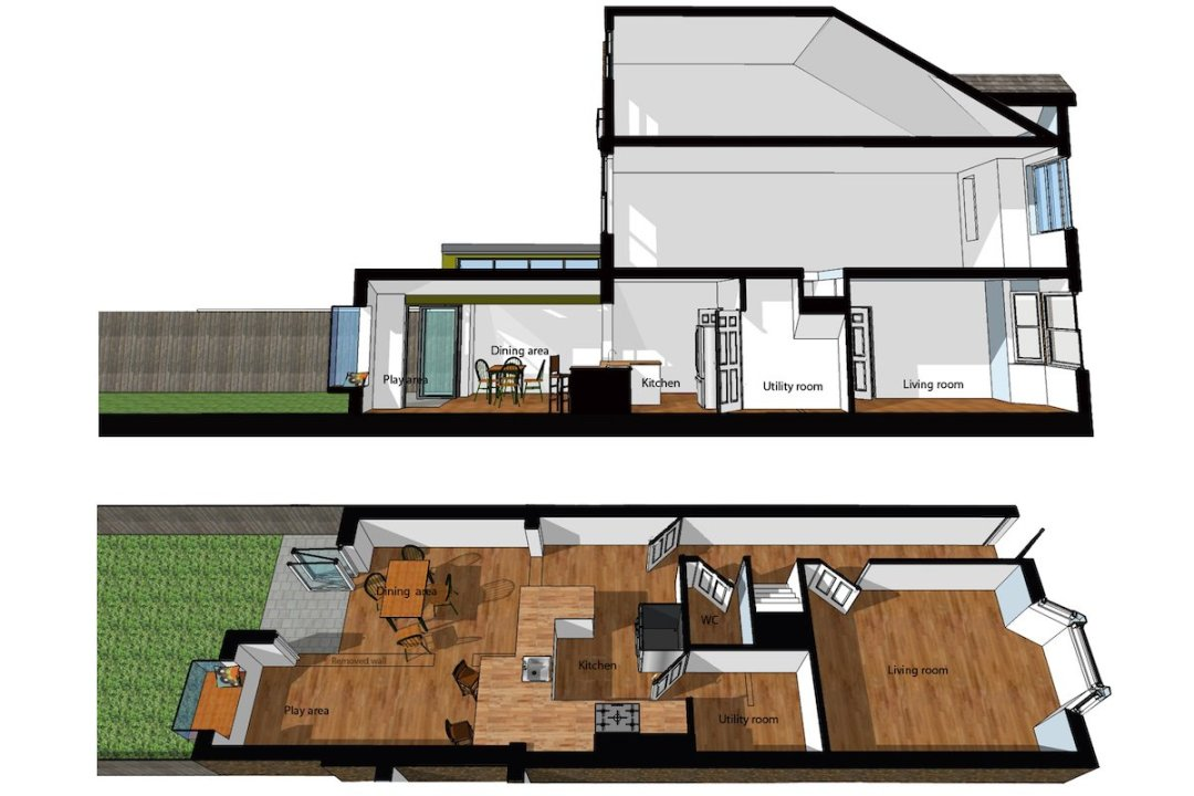 Barnes Richmond SW14 – Rear house kitchen extension – 3D images of sections 1200x800 Barnes, Richmond SW14 | Rear house kitchen extension