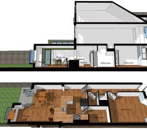 Barnes Richmond SW14 – Rear house kitchen extension – 3D images of sections 300x266 Barnes, Richmond SW14 | Rear house kitchen extension