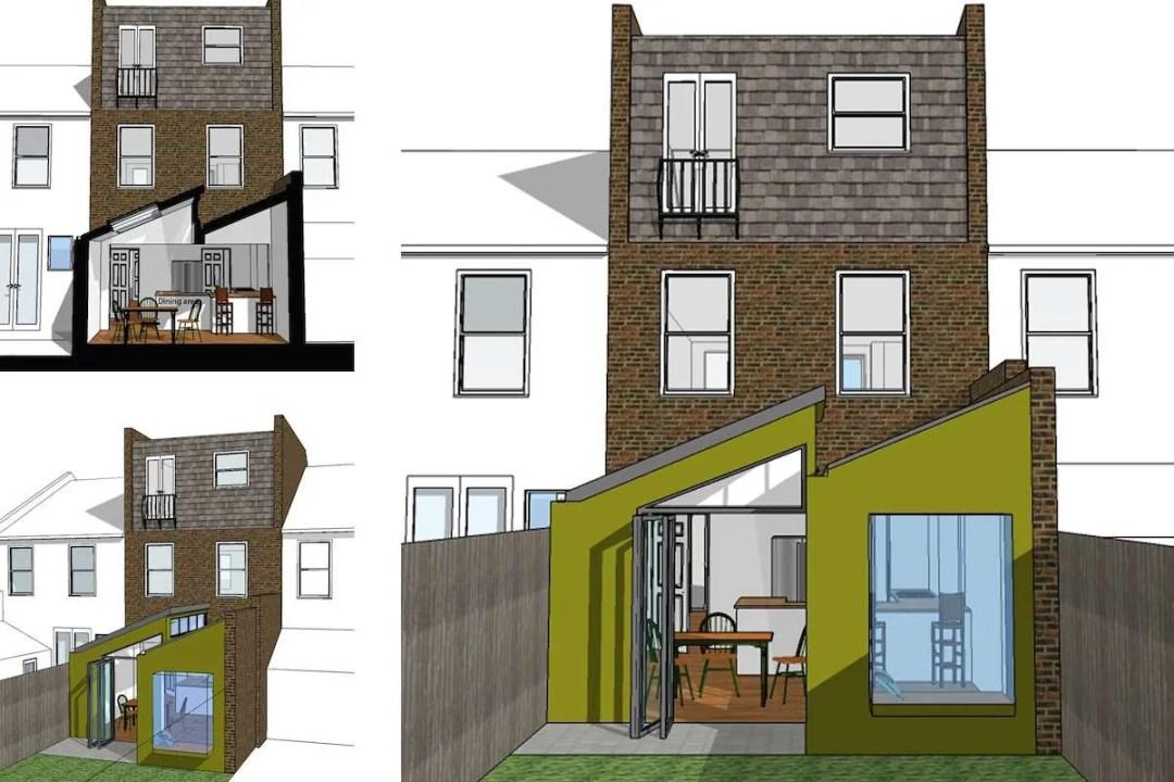 Barnes Richmond SW14 – Rear house kitchen extension – 3D images 1200x800 Barnes, Richmond SW14 | Rear house kitchen extension