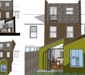 Barnes Richmond SW14 – Rear house kitchen extension – 3D images 300x266 Barnes, Richmond SW14 | Rear house kitchen extension