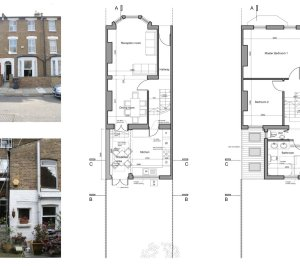 Clapham North Lambeth SW4 House extension Design floor plans 300x266 Clapham North, Lambeth SW4 | House extension