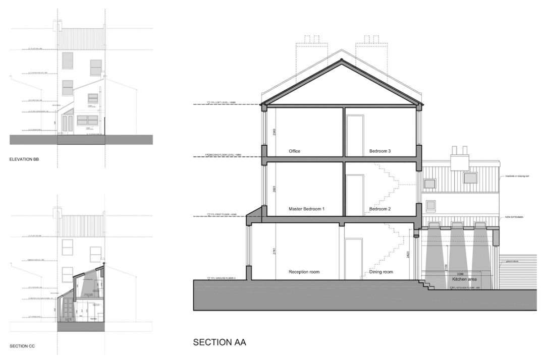 Clapham North Lambeth SW4 House extension Design sections and elevations 1200x789 Clapham North, Lambeth SW4 | House extension