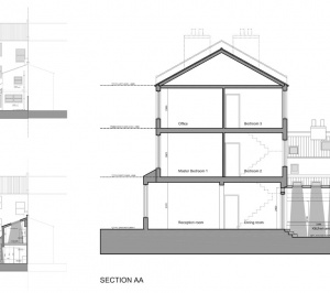 Clapham North Lambeth SW4 House extension Design sections and elevations 300x266 Clapham North, Lambeth SW4   House extension
