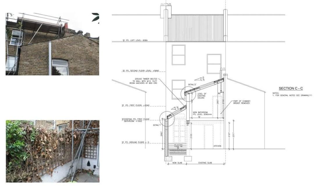 Clapham North Lambeth SW4 House extension Technical section 1200x710 Clapham North, Lambeth SW4 | House extension