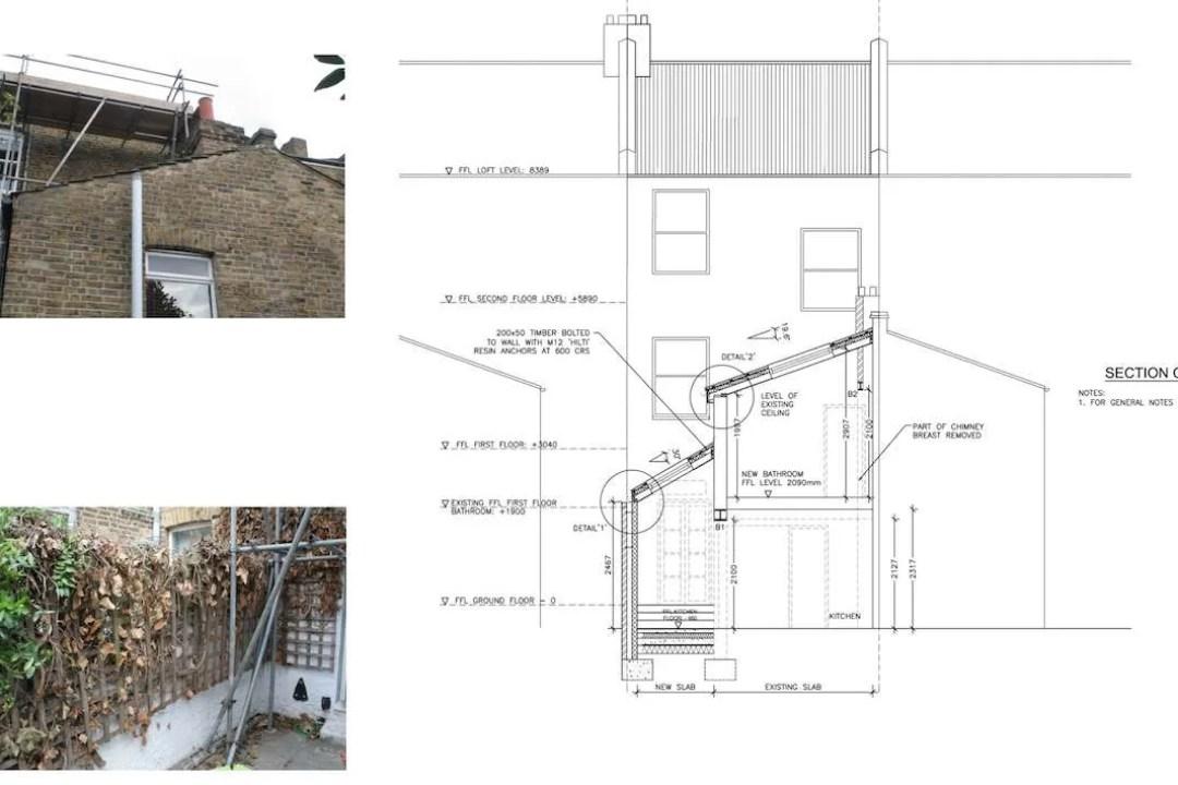 Clapham North Lambeth SW4 House extension Technical section 1200x800 Clapham North, Lambeth SW4   House extension