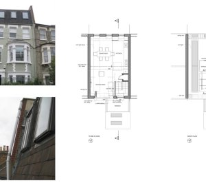 Fulham Broadway SW6 Fulham and Hammersmith Flat alterations to mansard roof Floor plans 300x266 Fulham Broadway, H & Fulham SW6 | Flat alterations to Mansard roof