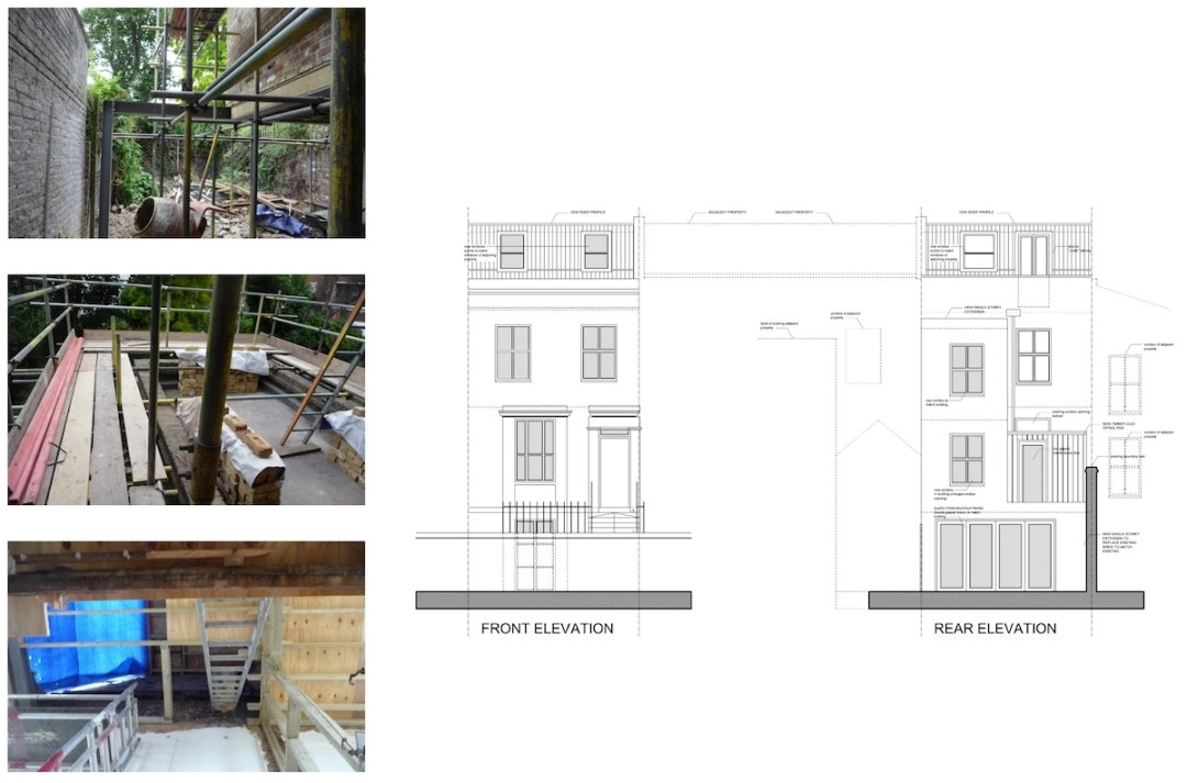Shepherds Bush Hammersmith Fulham W14 House extension Design front and rear elevations 1200x792 Shepherd's Bush, Hammersmith Fulham W14 | House extension