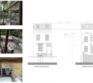 Shepherds Bush Hammersmith Fulham W14 House extension Design front and rear elevations 300x266 Shepherd's Bush, Hammersmith Fulham W14 | House extension