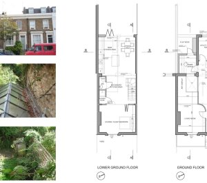 Shepherds Bush Hammersmith Fulham W14 House extension Lower and ground floor design plans 300x266 Shepherd's Bush, Hammersmith Fulham W14 | House extension