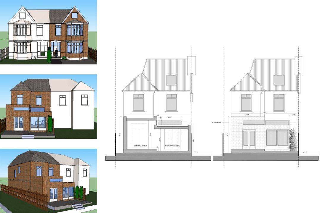 Grove Park Lewisham SE12 House Rear Extension Design Section Elevation And 3D Images 1200x800