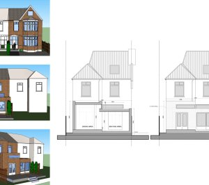 Grove Park Lewisham SE12 – House rear extension – Design section elevation and 3D images 300x266 Grove Park, Lewisham SE12 | House extension