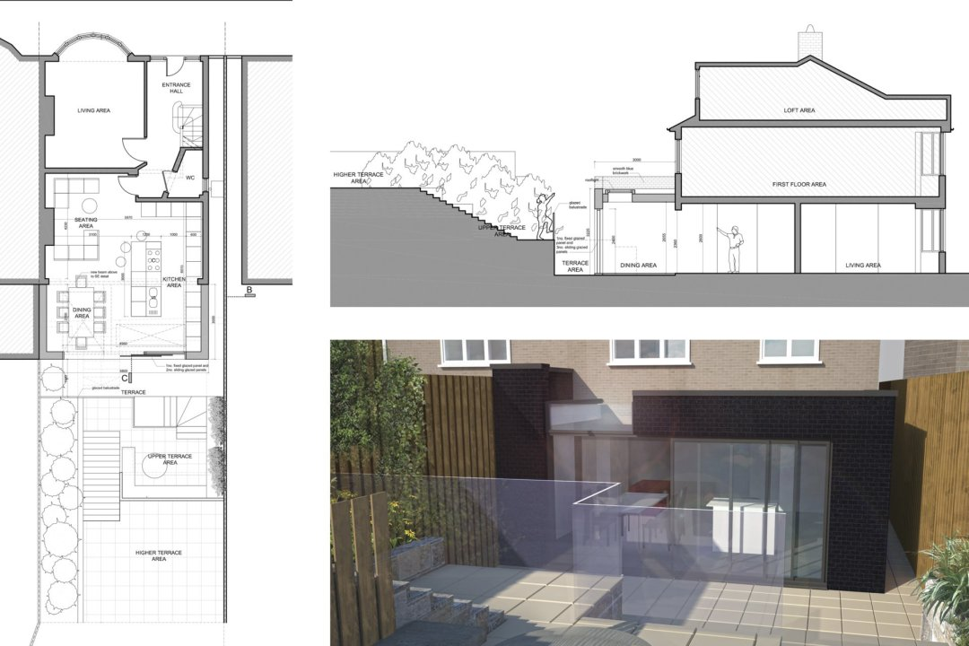 Architect designed rear house extension Highgate Haringey N6 – Floor plan 1200x800 Highgate, Haringey N6 | Rear house extension