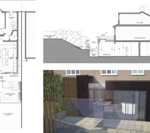 Architect designed rear house extension Highgate Haringey N6 – Floor plan 300x266 Highgate, Haringey N6 | Rear house extension