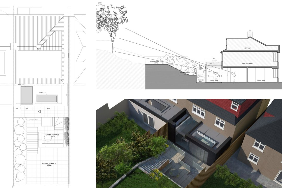 Architect designed rear house extension Highgate Haringey N6 – Section and 3D 1200x800 Highgate, Haringey N6 | Rear house extension
