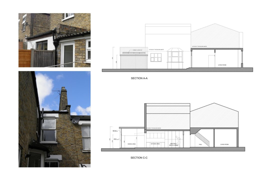 Nunhead Lewisham SE15 house kitchen extension – Architectural sections 1200x800 Nunhead, Lewisham SE15 | House kitchen extension