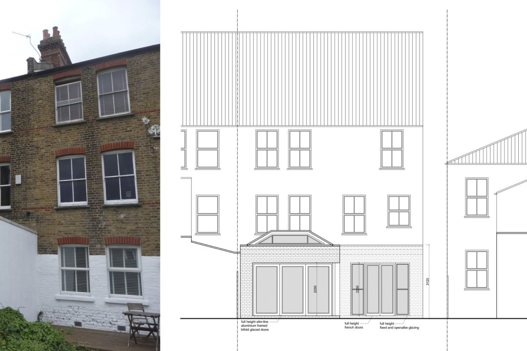 Architect designed garden flat extension Tooting Broadway Wandsworth SW17 Rear elevation 1 1200x800 Tooting Broadway, Wandsworth SW17 | Garden flat extension