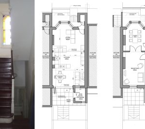 Architect designed mansard roof extension Finsbury Park Islington N7 Lower floor plans 1 300x266 Finsbury Park, Islington N7 | Mansard roof extension