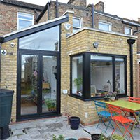 Architect designed rear house extension Finchley Central Barnet N3 Rear view 200x200 Barnet residential architect projects
