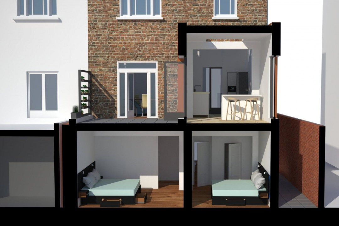 Architect designed rear house extension Tufnell Park Camden NW5 3D Section elevation 1200x800 Tufnell Park, Camden NW5 | Rear house extension
