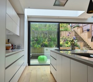 Architect designed rear house extension Highgate Haringey N6 – View to the garden from the kitchen area 300x266 Highgate, Haringey N6 | Rear house extension