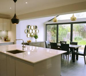 Architect designed roof and kitchen house extension Kingston KT2 Kitchen area 300x266 Kingston KT2 | Roof and kitchen house extension