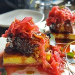 Pork belly and kimchi on cornbread
