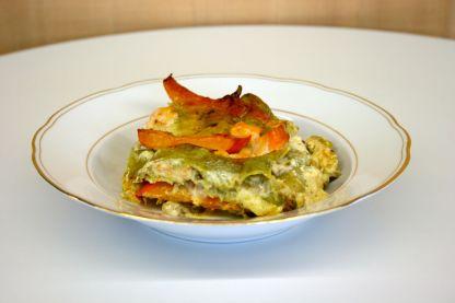 Lasagne mit Räucherlachs, Kürbis & Schmorgurke2